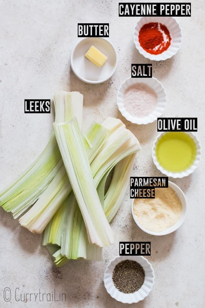 ingredients for roasted leeks