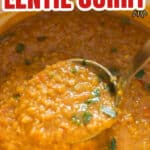 one pot coconut red lentil curry cooked in pot with text overlay