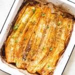 roasted leeks on baking tray