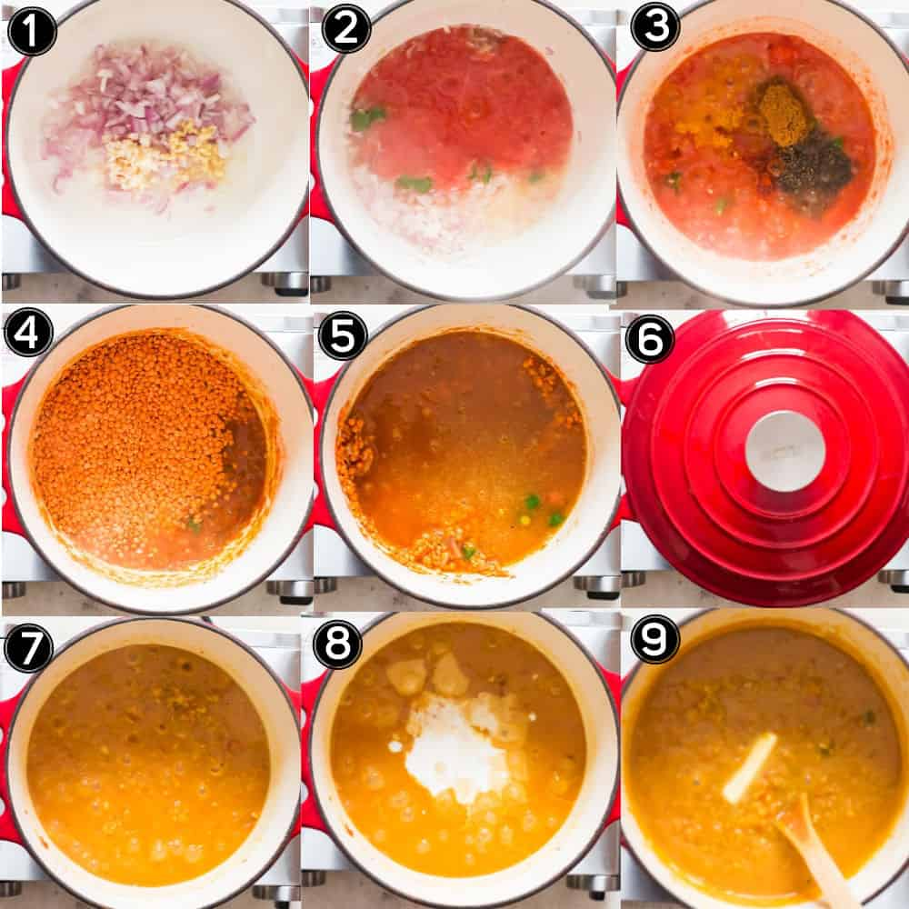 step by step picture collage on how to make red lentil curry