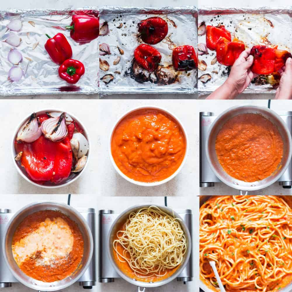 step by step pictorial of roasted red bell pepper pasta