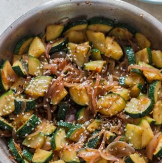 healthy zucchini stir fry made in skillet