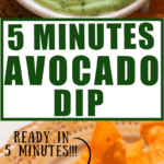 creamy 5 minutes avocado dip served with nachos with text overlay