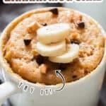 1 minute microwave banana mug cake with text overlay