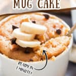 easy banana mug cake in mug made in microwave with banana slices with text