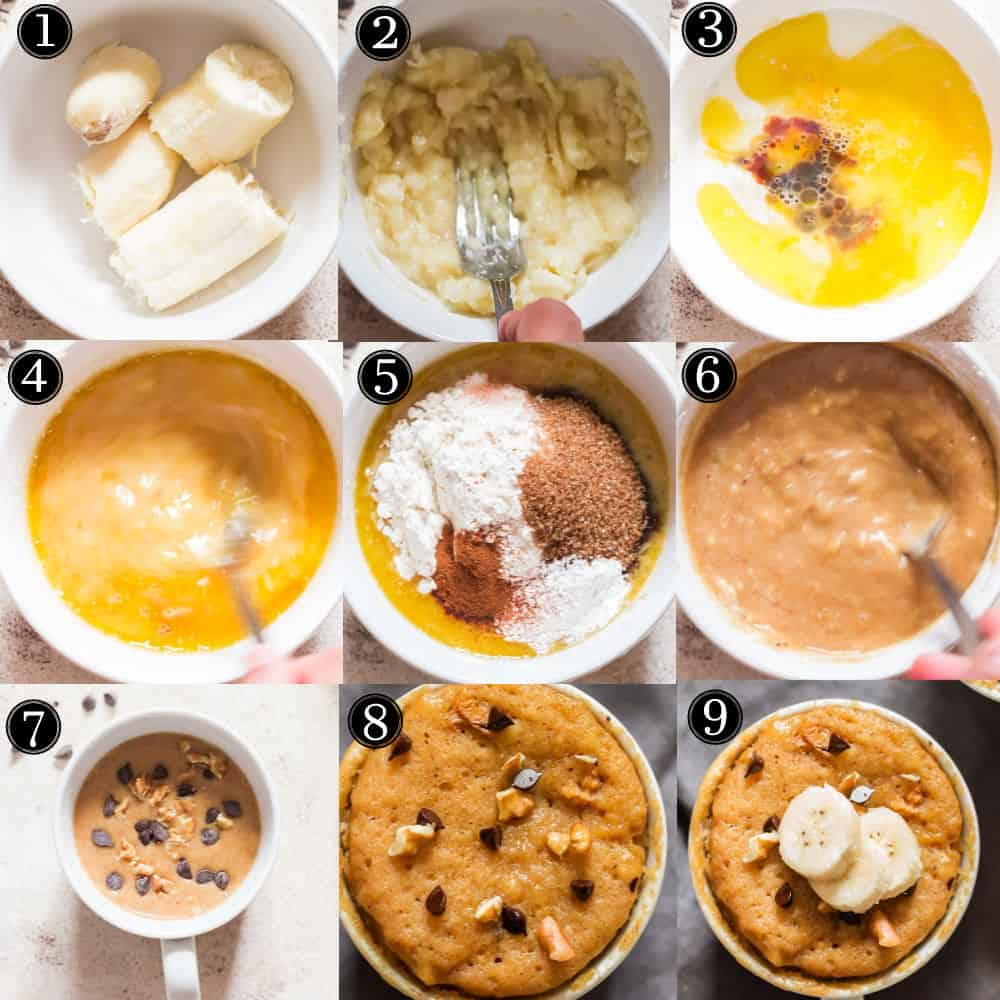 step by step pictorial collage of banana mug cake