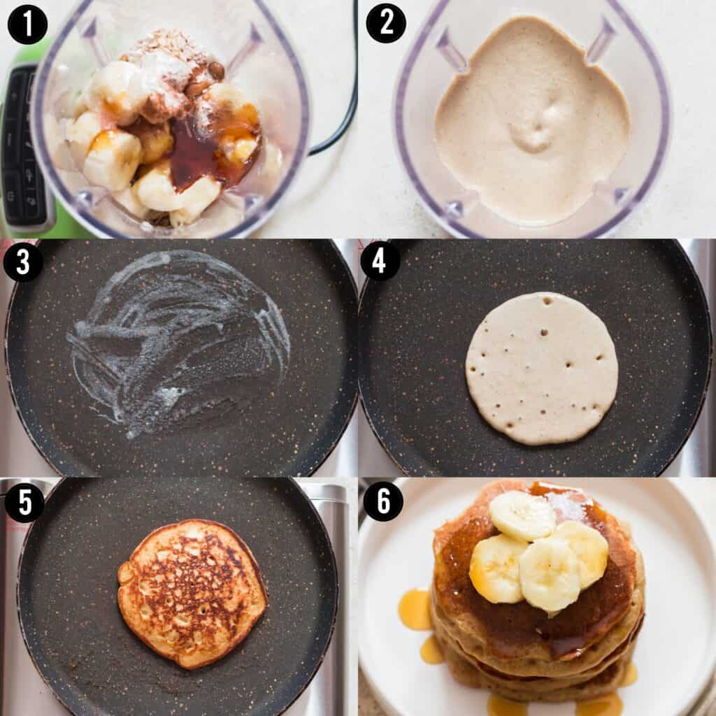 step by step pictorial of blender banana oatmeal pancakes