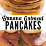 easy banana oatmeal pancake made in a blender with text overlay