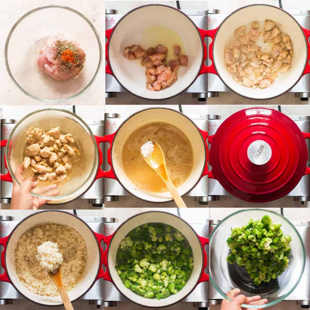 step by step pictorial instructions of chicken broccoli rice casserole