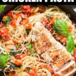 bruschetta chicken pasta cooked in cast iron pan with text