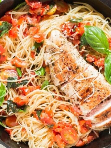 chicken pasta in tomato bruschetta