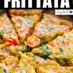 egg frittata with potato crust cooked in cast iron pan with text overlay