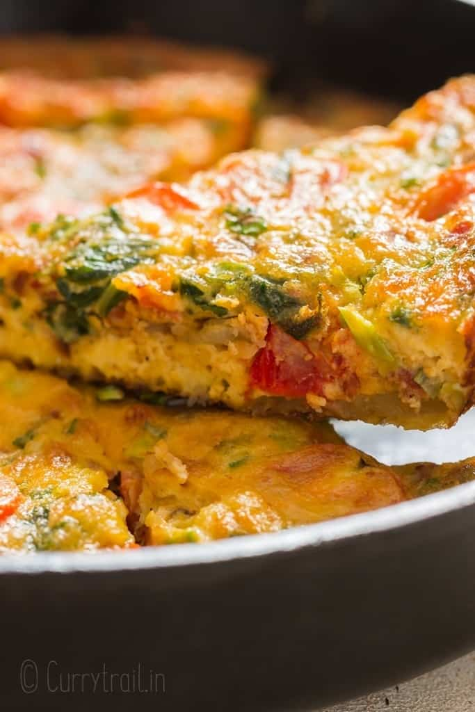 slices of egg frittata baked in cast iron pan