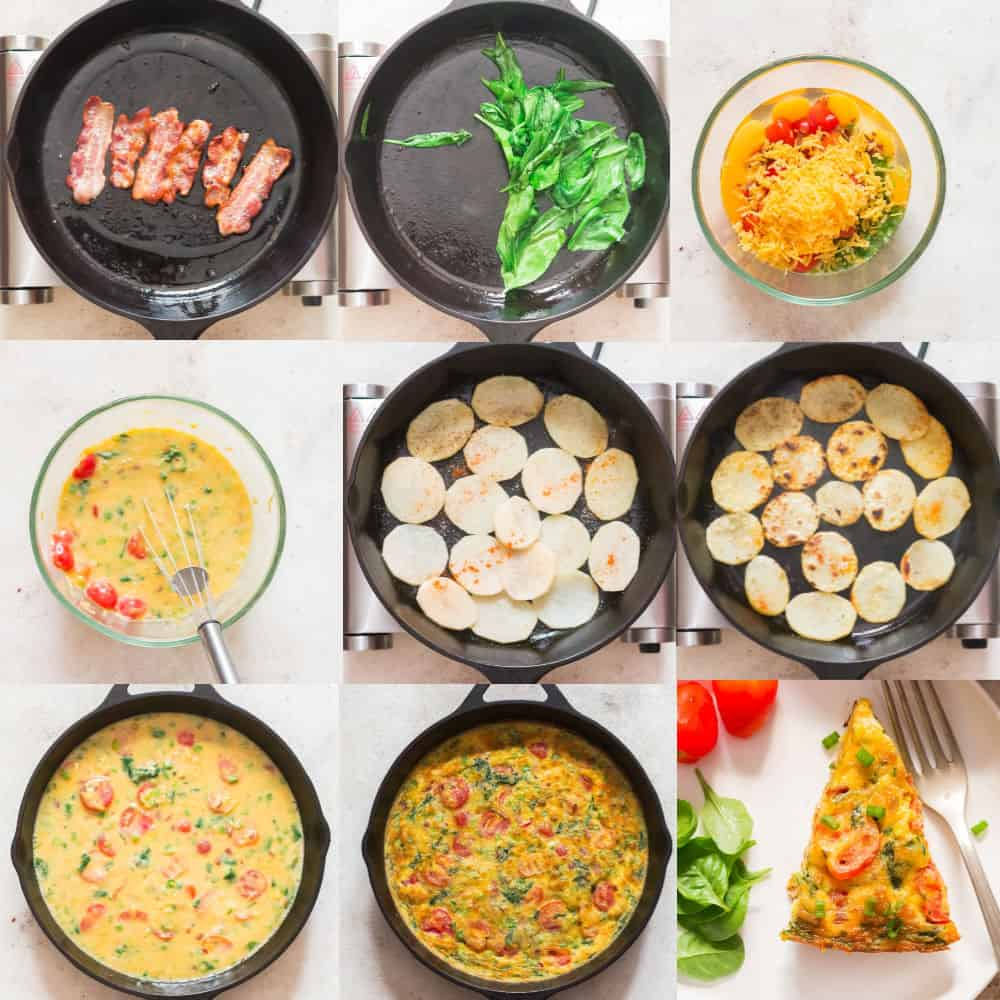egg frittata step by step instructions collage