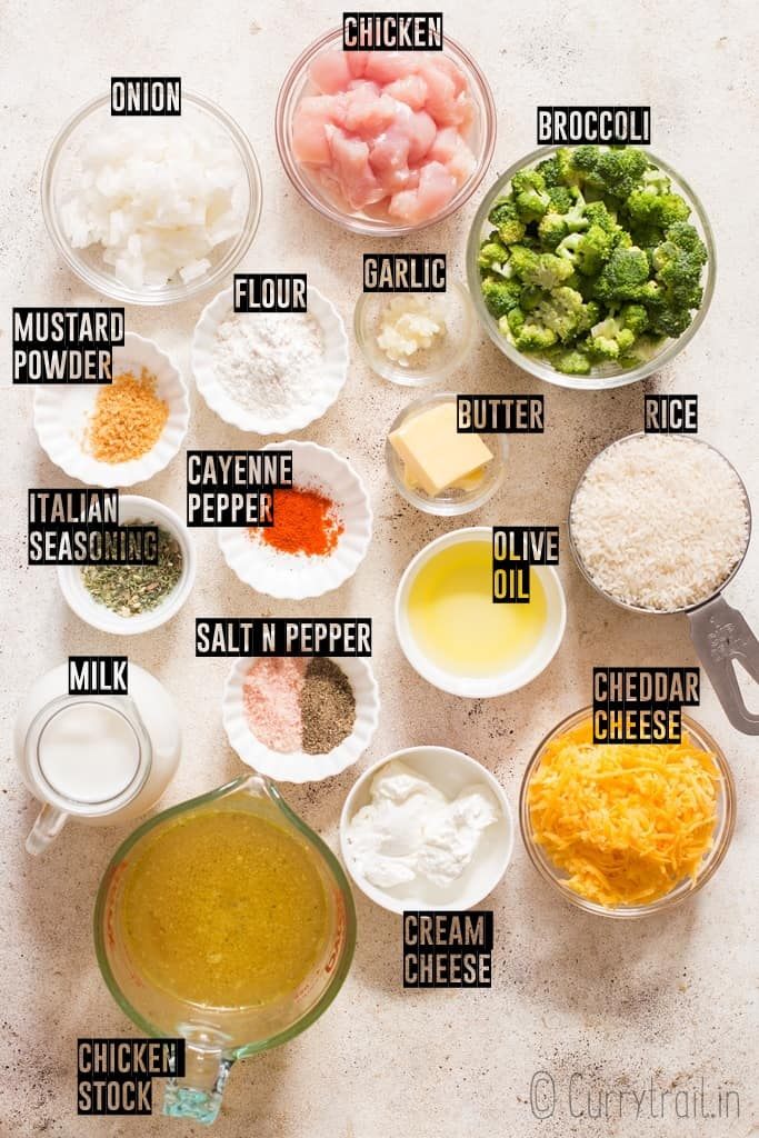 ingredients for broccoli rice casserole spread out on board