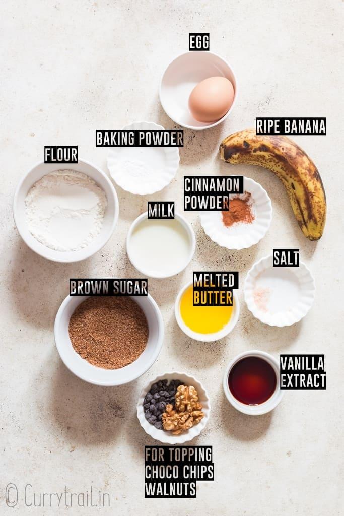 all ingredients for banana mug cake