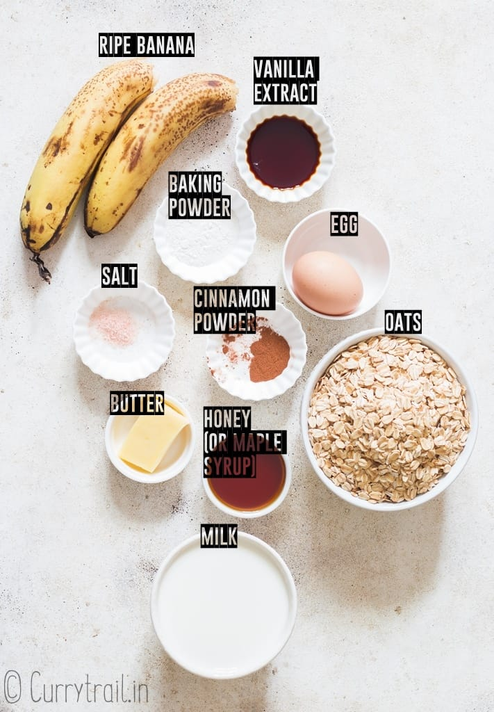 all ingredients for banana oatmeal pancake recipe