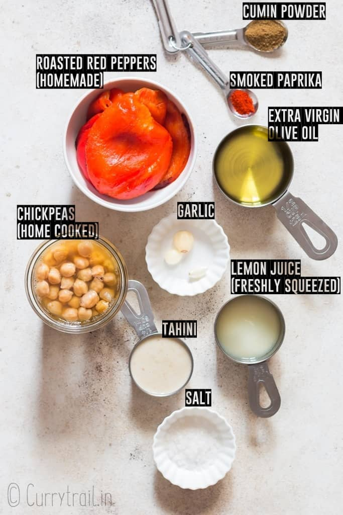 ingredients for roasted red pepper hummus