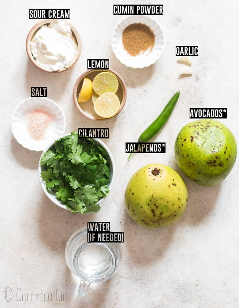 ingredients for creamy avocado dip