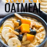instant pot steel cut oats served with fruits and berries in ceramic bowls with text