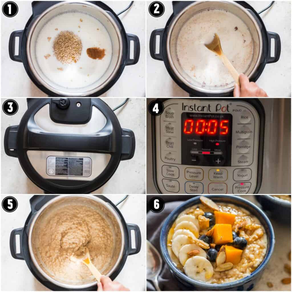 instant pot steel cut oats step by step pictures collage