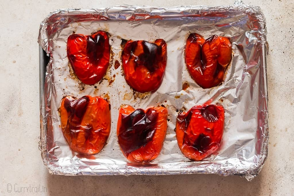 homemade oven roasted red peppers for making red pepper hummus