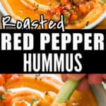 roasted red pepper hummus in ceramic bowl with text