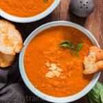 roasted tomato basil soup in bowl