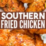 southern fried chicken in a plate with text