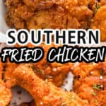 Ultra crispy southern fried chicken with text overlay