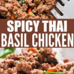 spicy Thai basil chicken cooked in skillet served over rice with text