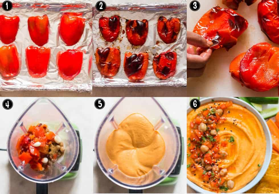 step by step pictorial instructions for roasted red pepper hummus
