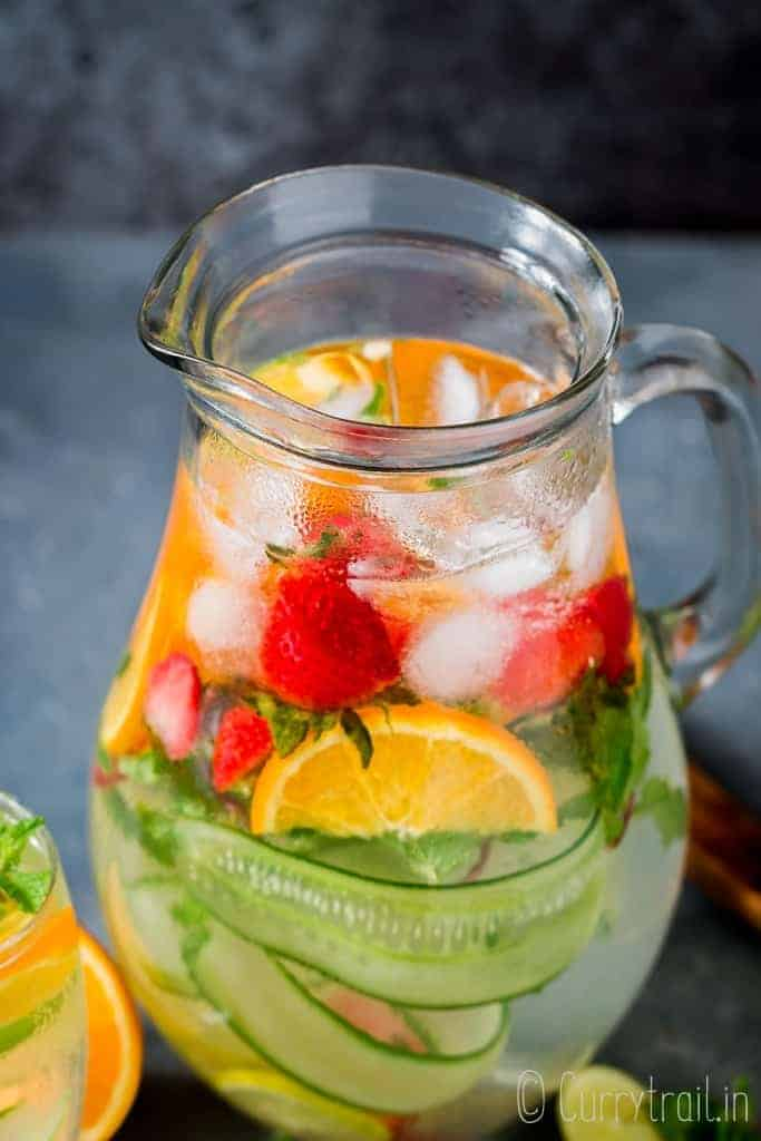 a pitcher full of infused detox water
