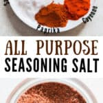 all purpose seasoned salt in glass jar with text