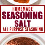 DIY homemade seasoning salt stored in glass jar with text
