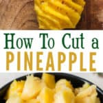 cut pineapple with text