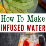 fruit infused water in pitcher and glass with text