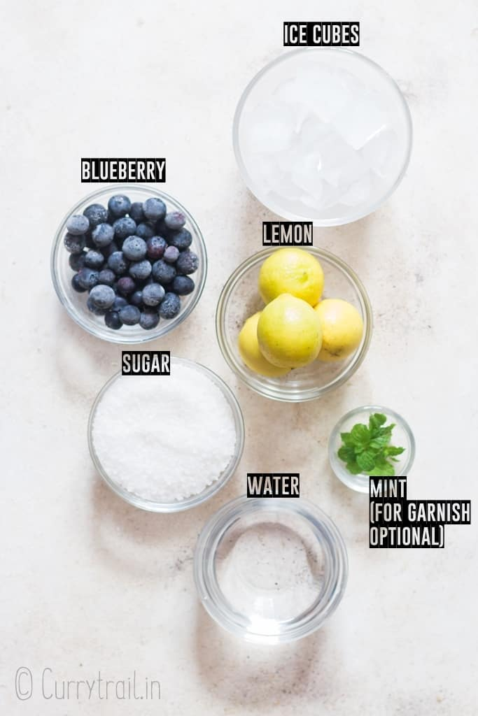 all ingredients for blueberry lemonade recipe