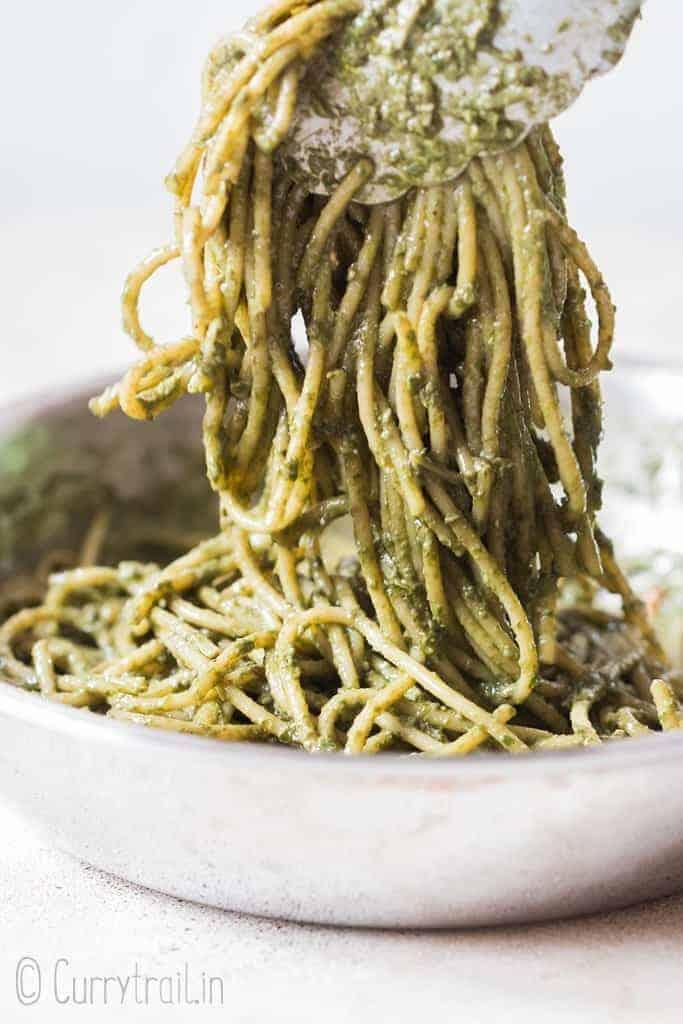 Pesto chicken pasta in skillet