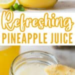 light and refreshing juice of a pineapple in two jars with text