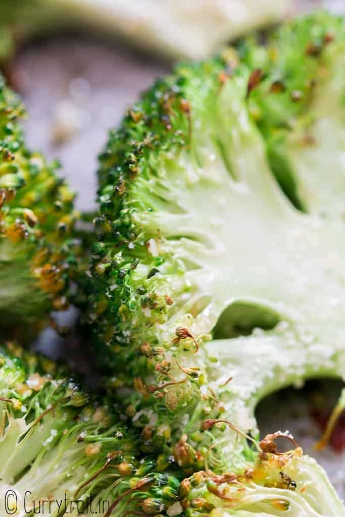 spicy broccoli roasted in oven with garlic Parmesan