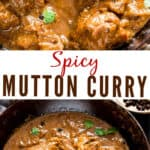 spicy mutton curry served in cast iron pan with text