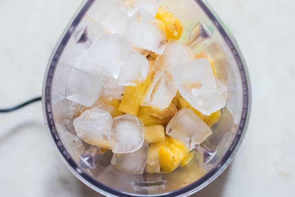 before blending pineapple juice ingredients in blender