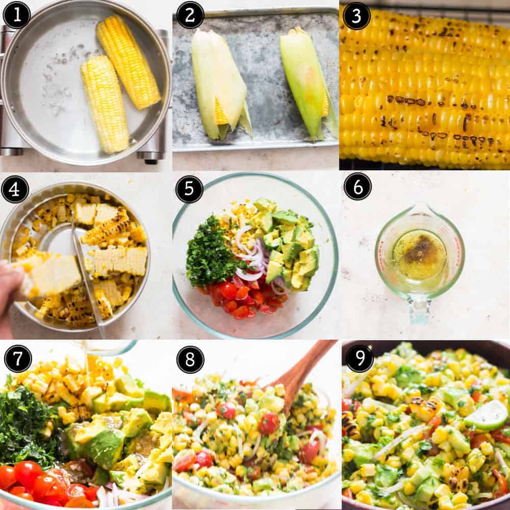 step by step pictorial of corn avocado salad