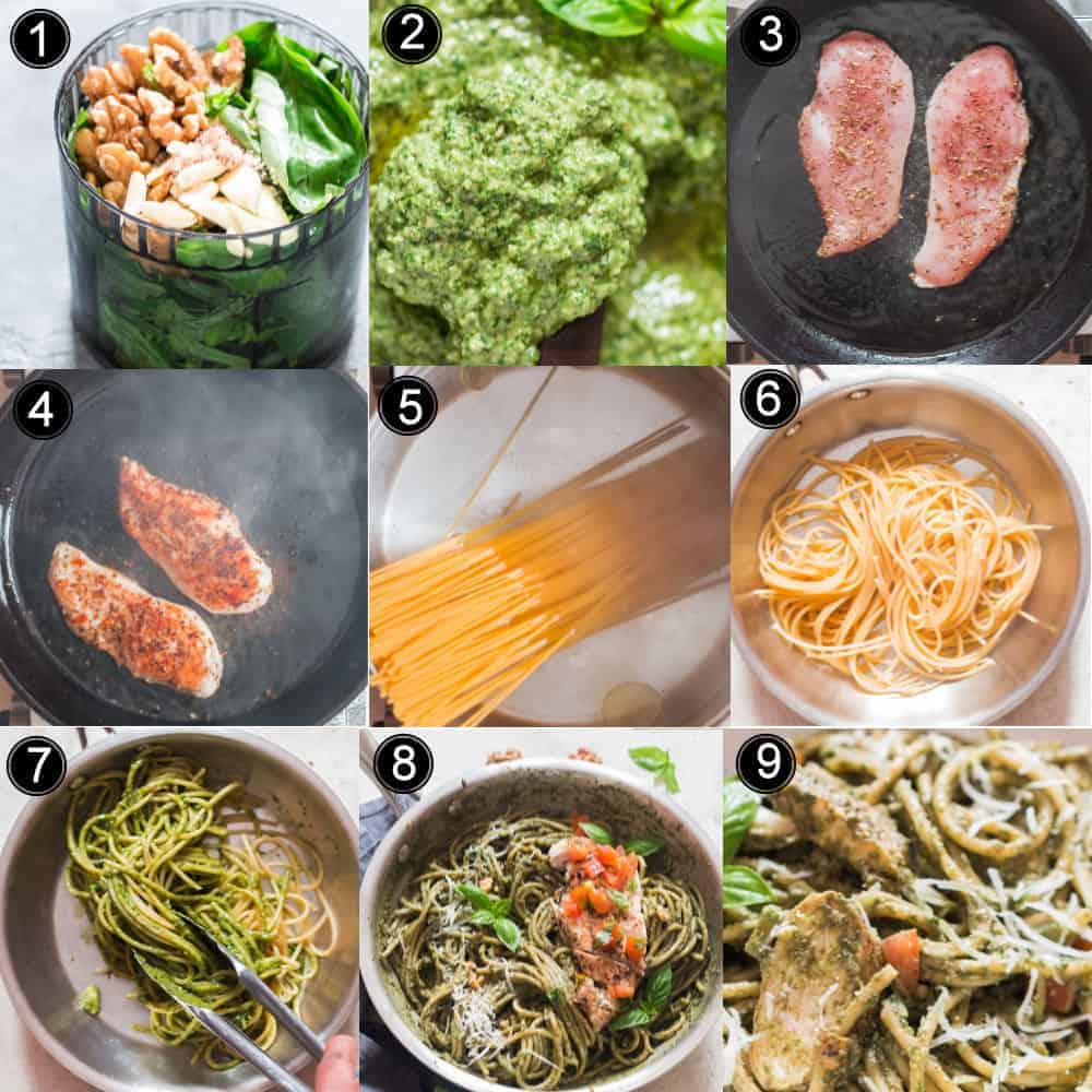 step by step instructions on how to make chicken pesto pasta recipe