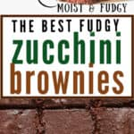 fudgy moist zucchini brownies with text