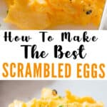 best scrambled eggs on white plate and bread with text overlay