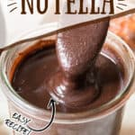 luscious delicious nutella recipe in glass jar with text