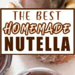 easy food processor made homemade Nutella with text