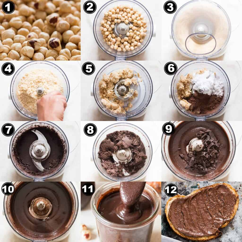 step by step pictorial collage of how to make homemade nutella in food processor